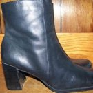 High heel black leather fashion lboots ankle hi women's size 8.5 NINE & CO. guc