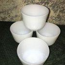 "4 vintage FEDERAL Heat Proof 2.5x3"" white milkglass custard cups bowls made USA"