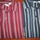 2 men's SONOMA polo shirts size medium stiped red white blue short sleeve GUC
