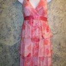 Tiered ruffle halter dress coral pink floral SPEECHLESS women's junior L summer