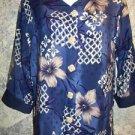 BLAIR BOUTIQUE v-neck 3/4 sleeve blue tropical floral blouse shirt women M Used