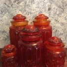 """LE SMITH Moon Stars canister 10 pc set amberina orange red carnival glass 5-11"""""""