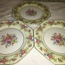 "3 ROSENTHAL Florabella handpainted German china octogan bread plates 7"" flowers"