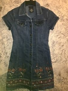 SPEECHLESS denim blue jean shirt dress embroidery sequins embellished girl's 12