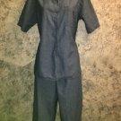 FIELD GEAR lightweight cotton denim blue ankle pants S button shirt M set casual