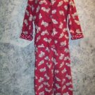 Puppy dogs red black flannel pajamas pjs bottoms button down top shirt women's S