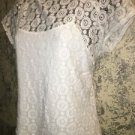 LIZ CLAIBORNE stretch knit semi sheer lacey overlay attached cami white top M