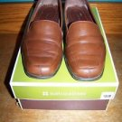 NATURALIZER slip on shoe women 8W dress work low stack heel brown leather loafer