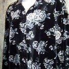 Black gray velour button down shirt jacket velour stretch knit casual dress sz M