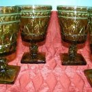 """4 CHRISTmas green 4.5"""" tall pedestal footed Colony Park Lane glasses goblets"""