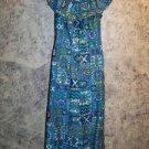 Hippie boho ruffled Hawaiian muu muu sundress dress women's M blue abstract GUC