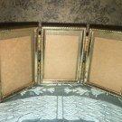"Tri-fold vntg emboss gold metal hinged 2.5x3.5"" triple frame photo fine detail"