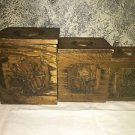 Vintage '77 SEARS country farmhouse kitchen wood 3 canister set plastic liner