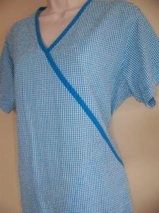 Women's size scrubs nurse uniform top pullover v-neck PEACHES gingham check blue