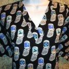 Black phone scrubs nurse medical dental uniform top pullover women's L blue