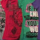 Lot 4 flashy graphic sparkle embellished tee t-shirt tops S-M NEW YORK HOLLYWOOD
