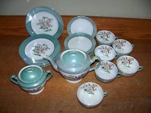 20 pc Noritake china lunch set asian bird hand painted~