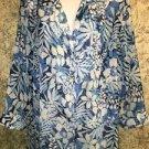 CD DANIELS semi sheer crinkle button down 3/4 sleeve blouse plus 1X blue floral