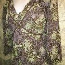 AXCESS Liz Claiborne crinkle peasant v-neck empire waist 3/4 sleeve blouse 1X