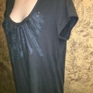 ANA modest scoop neck cap sleeve stretch knit top raw edge embellished blue XL