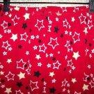 Red black star fleece sleep lounge pj pajama bottoms pants women M fall winter