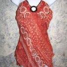 Asymmetrical hippie boho lightweight cami halter top womens S tribal beaded Used