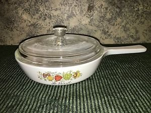 "Vintage CORNING WARE Le Persil vegetable pattern small 6.5"" skillet lid stovetop"