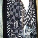 Black white cascade open front dress top duster knit stretch cardigan women M