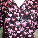 Black pink red heart Valentines v-neck scrubs uniform top dental medical nurse S