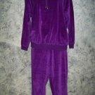 Comfy soft stretch velour pants top lounge set LIZ SPORT purple crewneck S-M