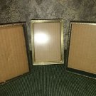 "Lot 3 vintage gold brass metal embossed photo picture frames 5x7"" shabby wedding"