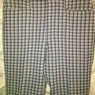 "Retro 70s houndstooh navy gray polyester disco hippie mod pants wide leg 32x32"""