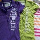3 AEROPOSTALE AERO polo shirts women's size XS long skinny slim fit purple green