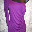 One shoulder keyhole open side ruched purple stretch top dressy WET SEAL women S