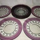 8 TIFFIN King's Crown thumbprint cranberry purple flashed lunch salad plates 8""