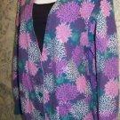 Colorful floral scrubs top deep v-neck top jacket medical uniform vet women M