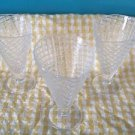 "3 waffle cone shape ice cream sundae cups glasses bowls large 6.5"" tall clear GC"