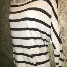 Black white stripe stretch knit top M band waist dohlman sleeve NY&C lightweight