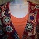 Bold fall floral print snap front v-neck scrubs jacket dental medical nurse S