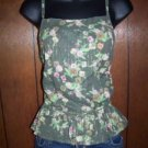 Weathervane women's small green cami tank lace trim GUC