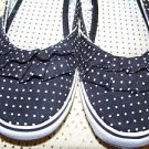 Black white polka dot ballet flats shoes canvas ruffle toe women's/girl's 4 Used
