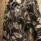 Black gray artsy floral 3/4 sleeve dressy blouse semi-sheer M rayon linen blend
