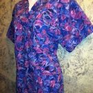 Purple blue Peaches scrubs nurse medical dental uniform top pullover women's L