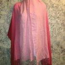 Soft lightweight fringed hem PASHMINA scarf wrap shawl pink red ombre viscose