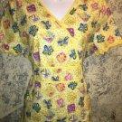 Bright yellow wrap v-neck scrubs uniform top dental medical nurse vet S ruffles