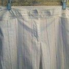 White subtle stripe summer casual dress pants women 12 mid rise front pockets