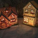 2 French country cottage houses buildings  lighted CHRISTmas village pink blue