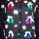 MANDAL BAY women's size large L CHRISTmas sweater cardigan embellished snowflake