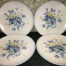 "4 NORITAKE Progression china Good Times blue yellow floral made Japan 8"" plates"