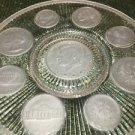 """Antique IMPERIAL GLASS Crystal Coins 1964 collector series 9"""" plate frosted GC"""